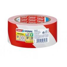 TESA MARKERINGSTAPE 60760 ZACHT PVC ROOD-WIT DIKTE 0.15MM 50MM ROL 33MTR