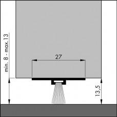 ELLEN DORPELPROFIEL DBS ALUMINIUM 1000MM MIN/MAX. KIER 8-13MM VELOURS BORSTEL ZACHT PP
